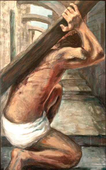 TAKE UP YOUR CROSS - Laurie A Stasi, Oil, 27 x 41.5